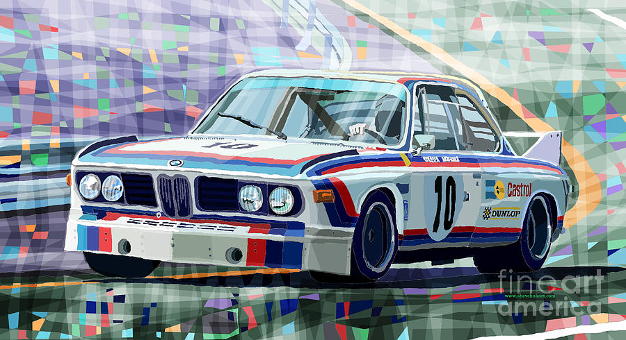 Bmw 3 0 Csl 1st Spa 24hrs 1973 Quester Hezemans Digital Art  - Bmw 3 0 Csl 1st Spa 24hrs 1973 Quester Hezemans Fine Art Print