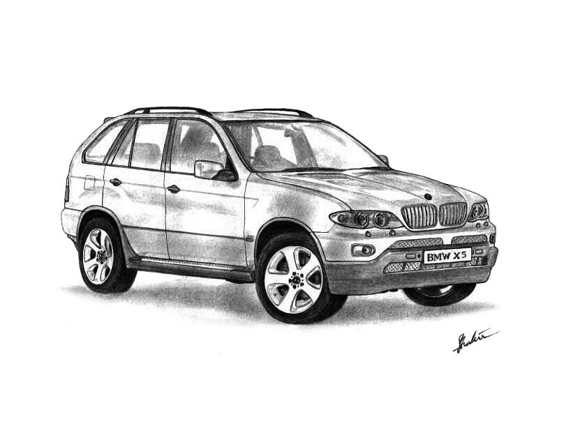 Bmw X5 Drawing  - Bmw X5 Fine Art Print