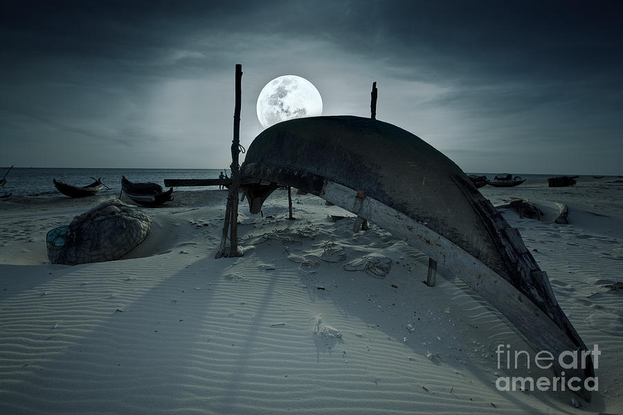 Boat And Moon Photograph  - Boat And Moon Fine Art Print
