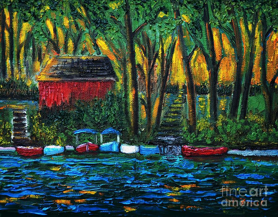 Boats Painting - Boat Dock In The Evening by Reb Frost