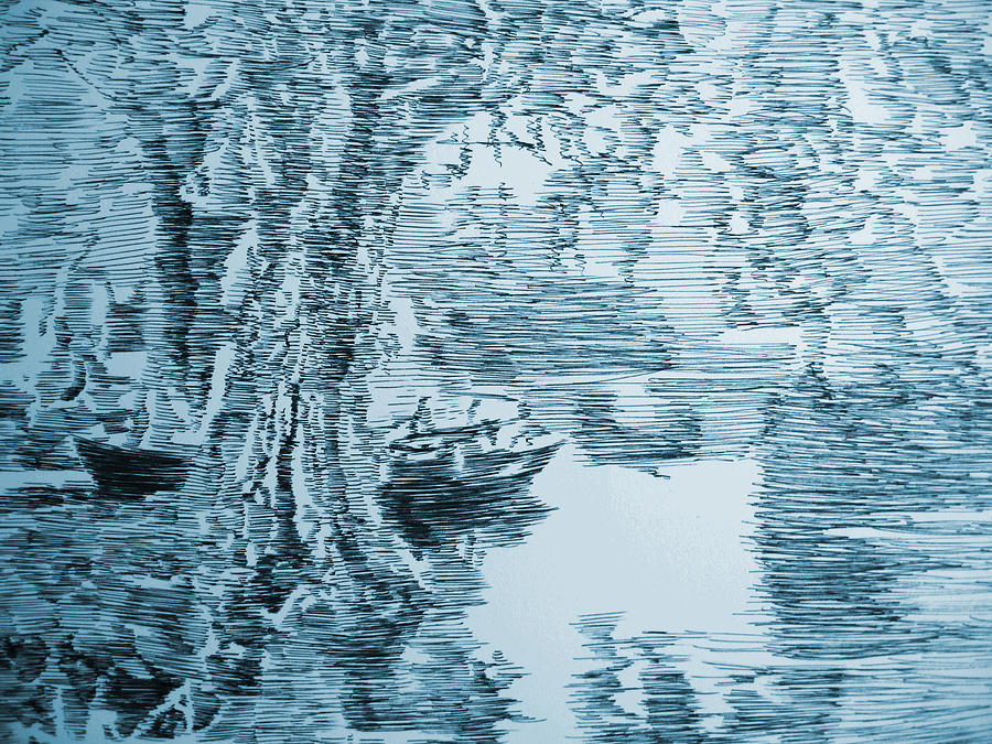 Boat In Blue Drawing