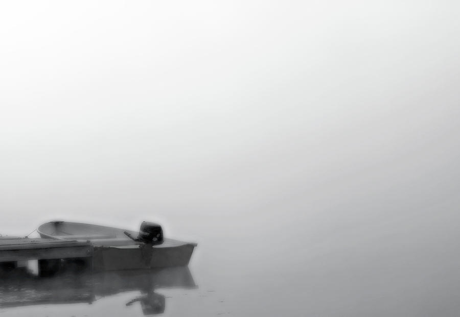 Boat In Fog On Lake Black And White Photograph