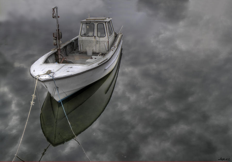 Wickford Ri Photograph - Boat In The Clouds by Stephen Eis