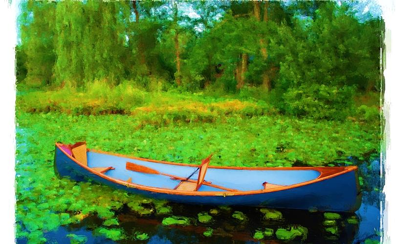 Boat On Bryant Pond Painting