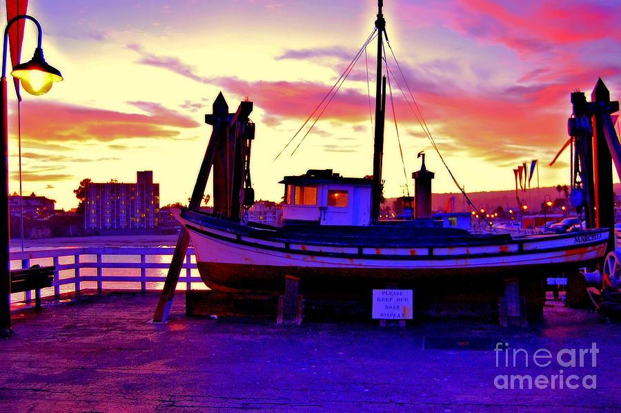Blue Photograph - Boat On Santa Cruz Wharf by Garnett  Jaeger