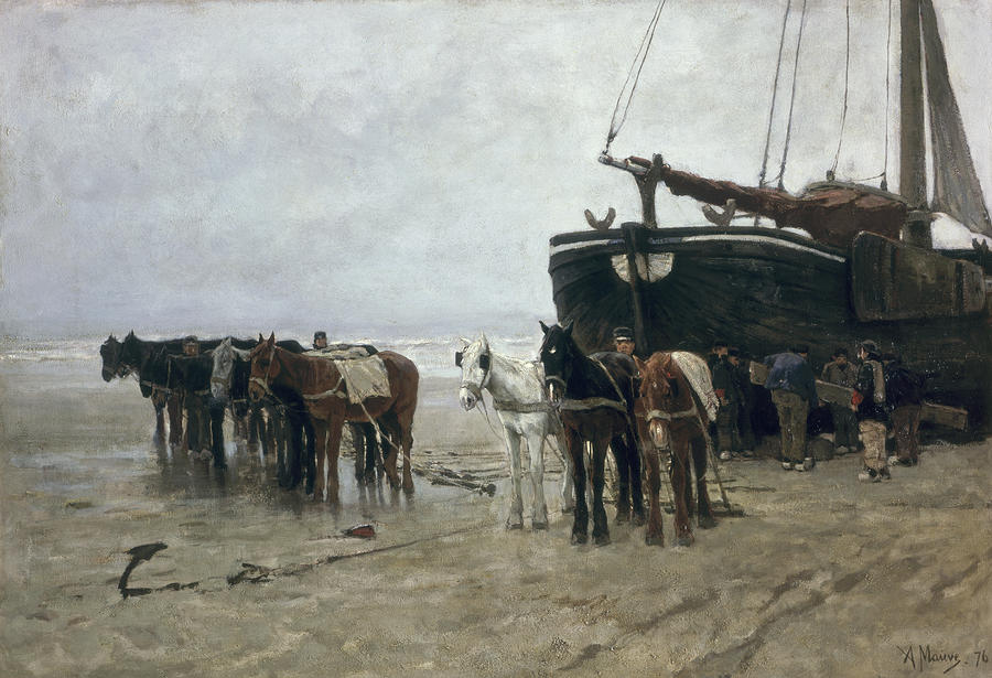 Boat On The Beach At Scheveningen Painting  - Boat On The Beach At Scheveningen Fine Art Print