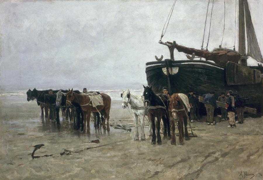Boat On The Beach At Scheveningen Painting
