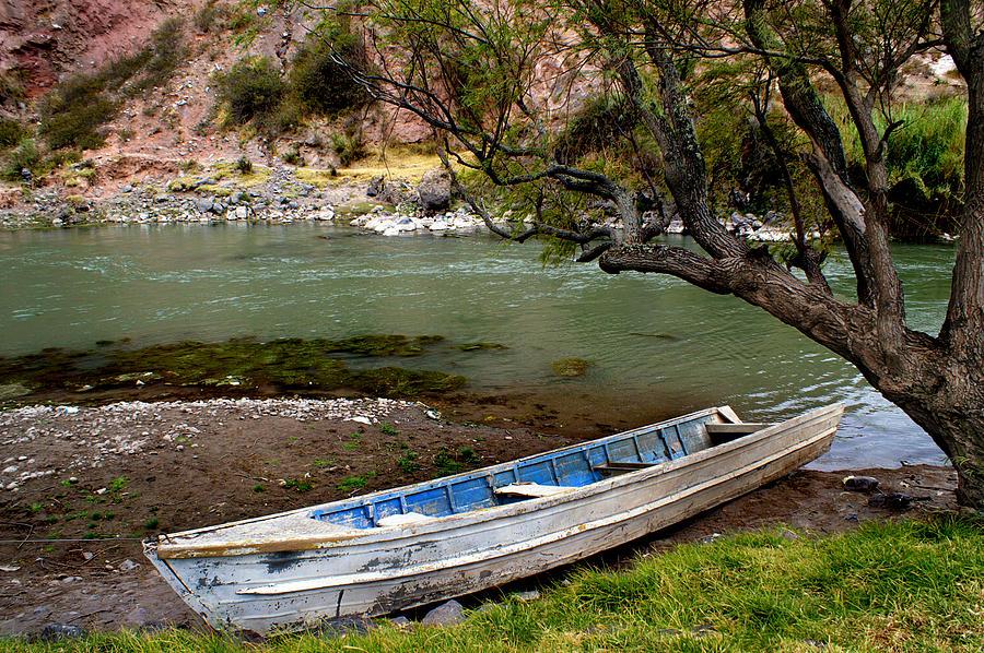 Boat On Urubamba River - Peru Photograph