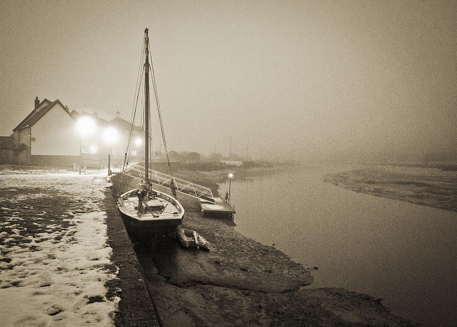 Boat On Wintry Quay Photograph  - Boat On Wintry Quay Fine Art Print