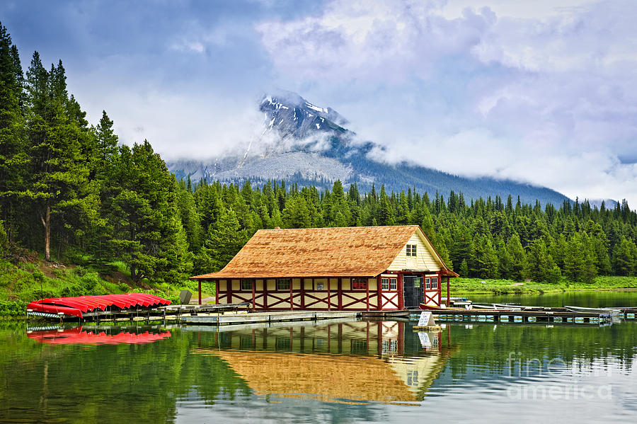 Boathouse On Mountain Lake Photograph  - Boathouse On Mountain Lake Fine Art Print