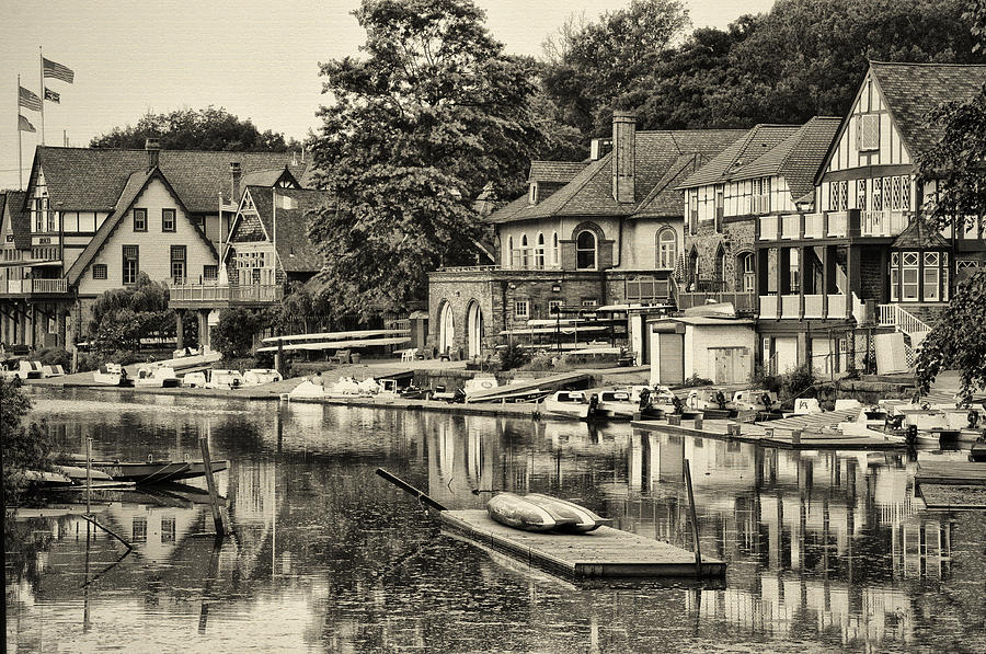 Boathouse Row In Sepia Photograph  - Boathouse Row In Sepia Fine Art Print