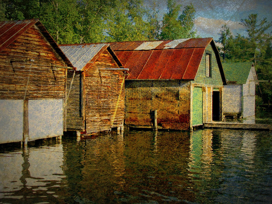 Boathouses On The River Photograph  - Boathouses On The River Fine Art Print