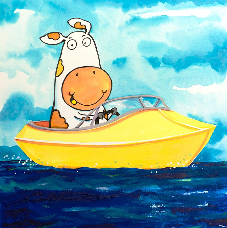 Boating Cow Painting  - Boating Cow Fine Art Print
