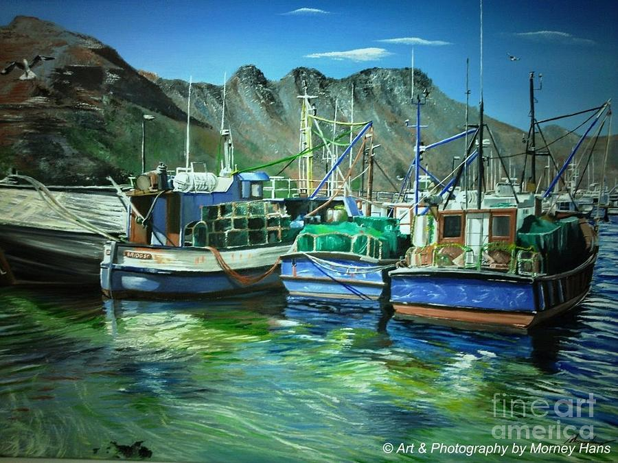 Boats At Hout Bay Painting