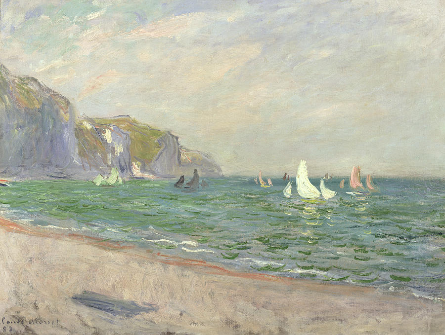 Boats Below The Cliffs At Pourville Painting  - Boats Below The Cliffs At Pourville Fine Art Print