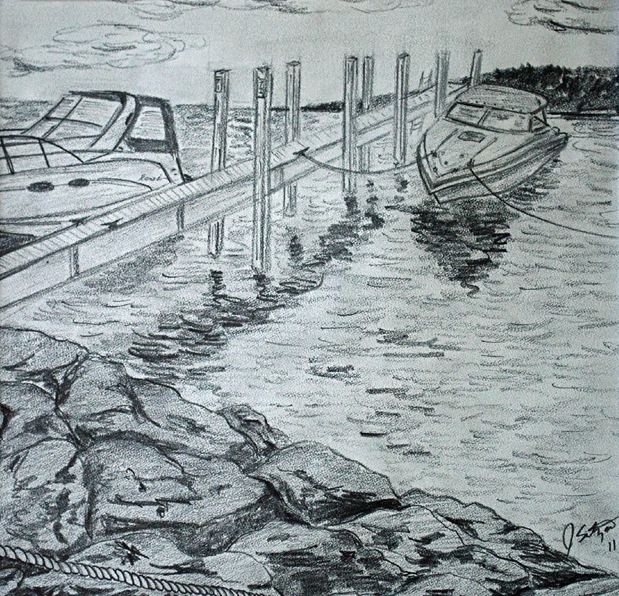 Dock Drawing - Boats By Mackinac by Jason Sotzen