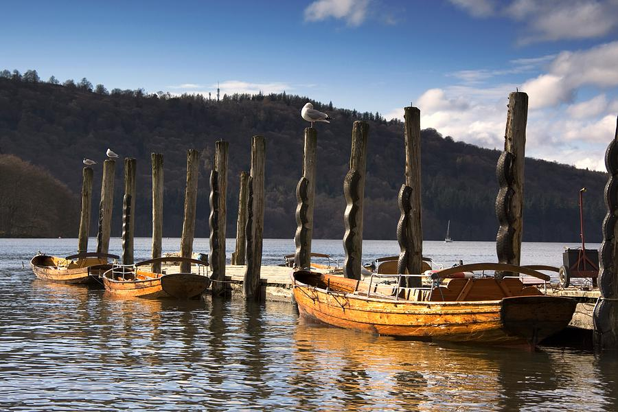 Boats Docked On A Pier, Keswick Photograph  - Boats Docked On A Pier, Keswick Fine Art Print