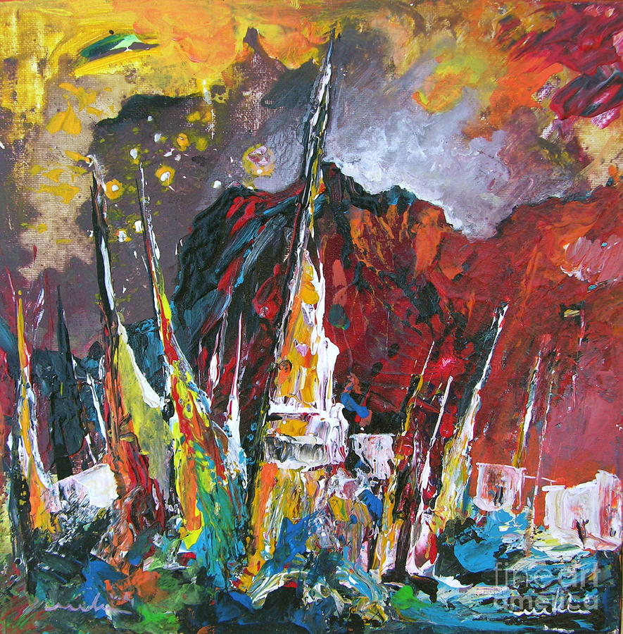 Boats In Calpe 01 Spain Painting  - Boats In Calpe 01 Spain Fine Art Print