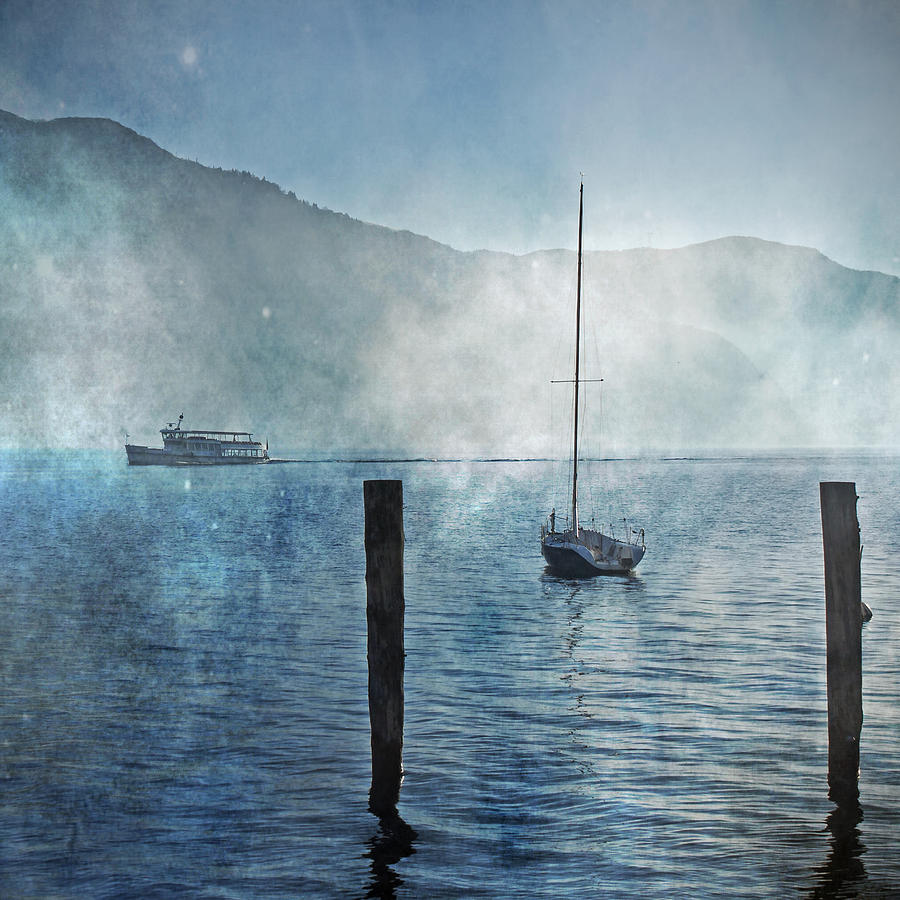 Boats In The Fog Photograph