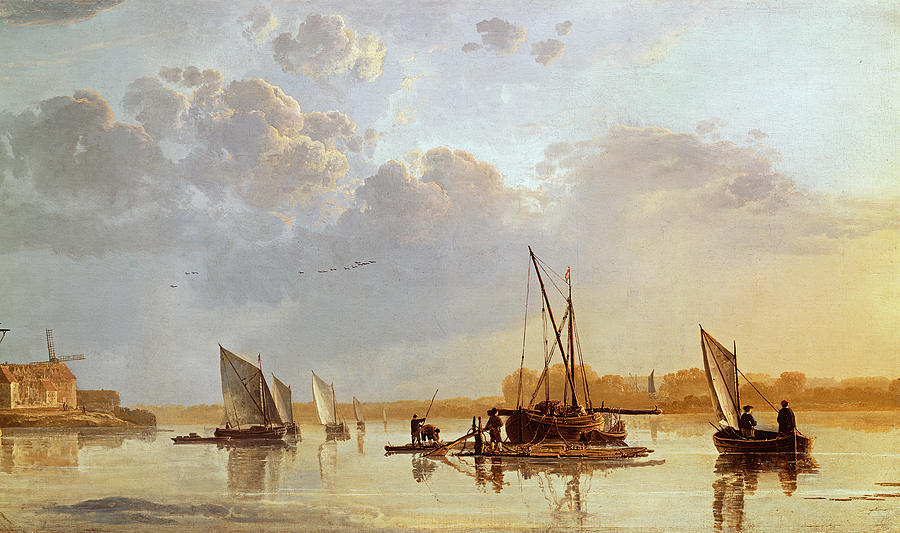 Boats On A River Painting