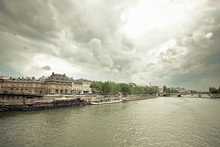 Boats On Seine Photograph