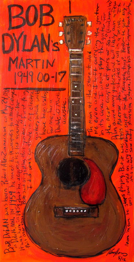 Bob Dylans First Acoustic Painting  - Bob Dylans First Acoustic Fine Art Print