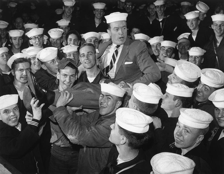 Bob Hope Entertaining Sailors Photograph  - Bob Hope Entertaining Sailors Fine Art Print