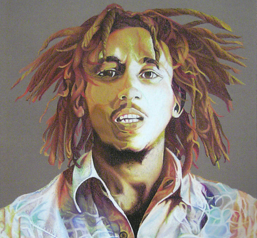 Bob Marley Earth Tones Drawing