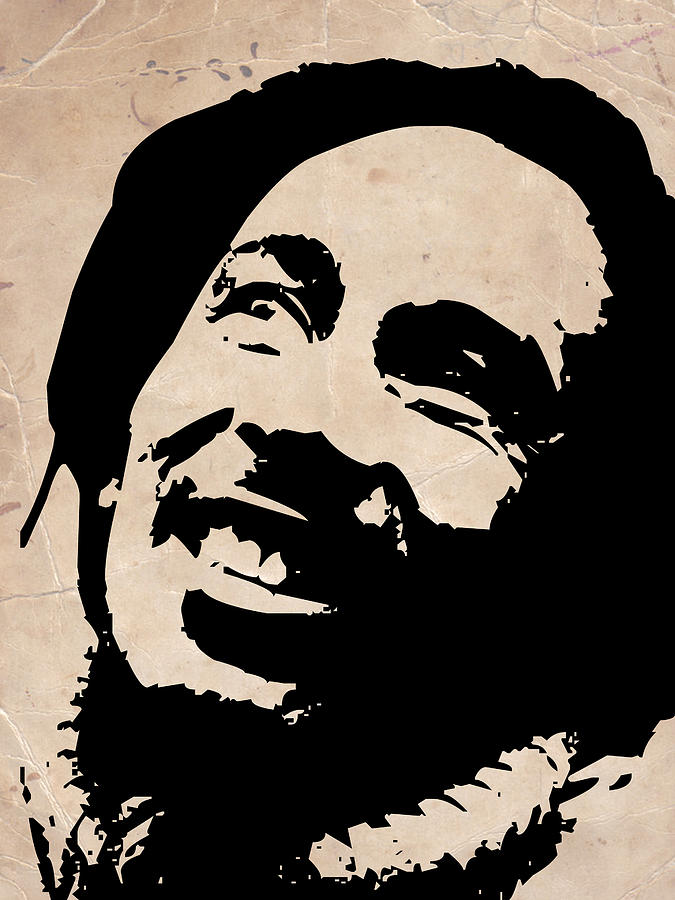 Bob Marley Grey And Black Painting  - Bob Marley Grey And Black Fine Art Print