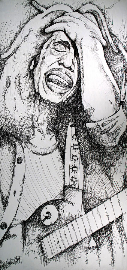 Bob Marley In Ink Drawing