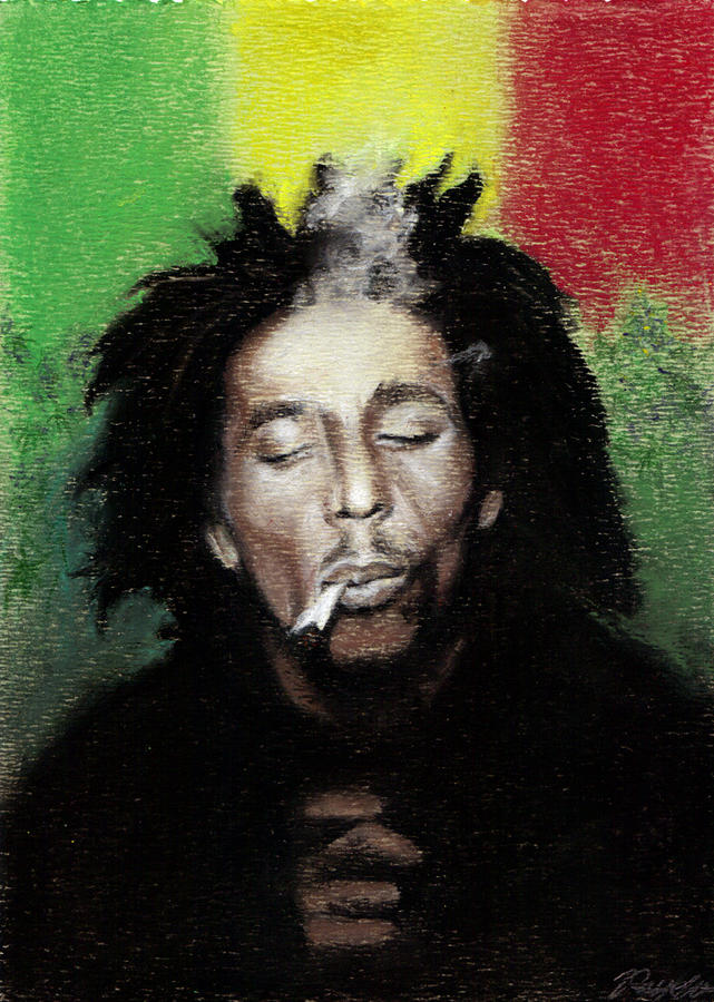 Bob Marley- Smoke Break Pastel  - Bob Marley- Smoke Break Fine Art Print