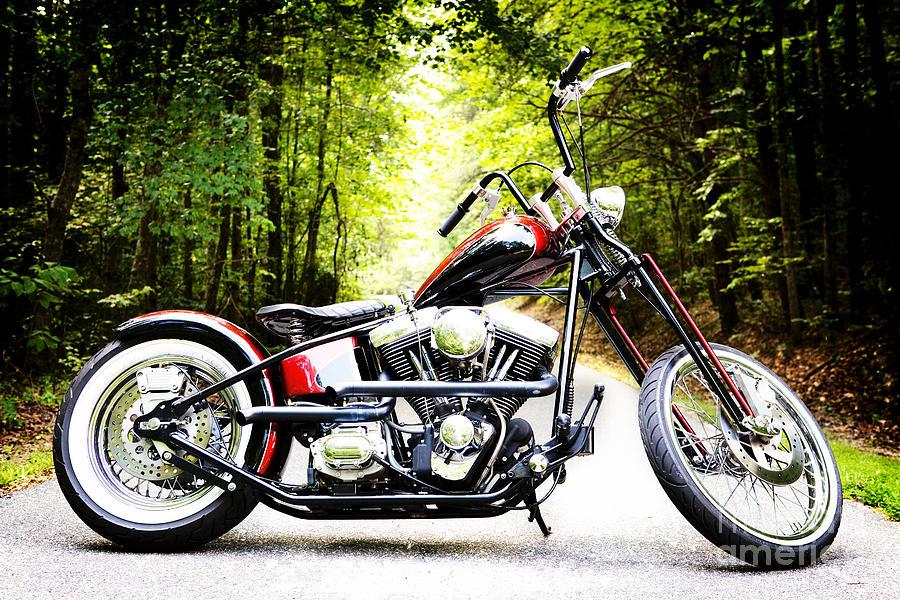Bobber Harley Davidson Custom Motorcycle Photograph