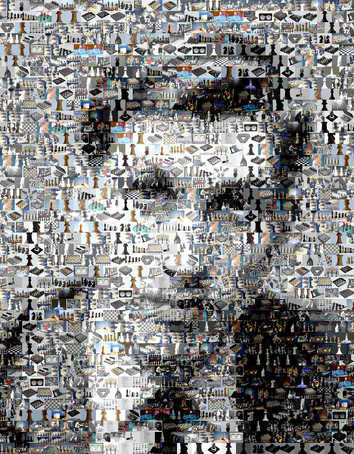 Bobby Fischer Chess Mosaic Digital Art  - Bobby Fischer Chess Mosaic Fine Art Print