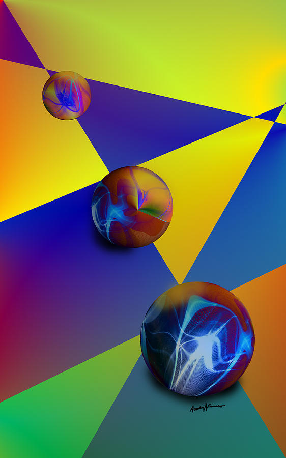 Abstract Digital Art - Bocce by Anthony Caruso