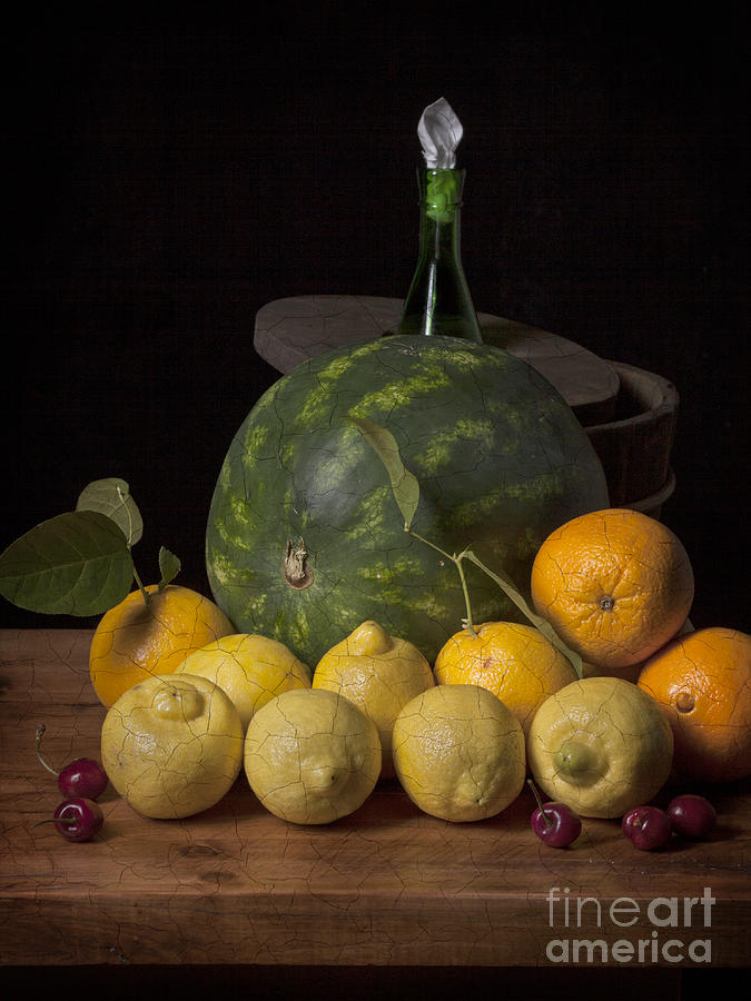 Bodegon - Watermelon-citrus And Cooler Photograph  - Bodegon - Watermelon-citrus And Cooler Fine Art Print
