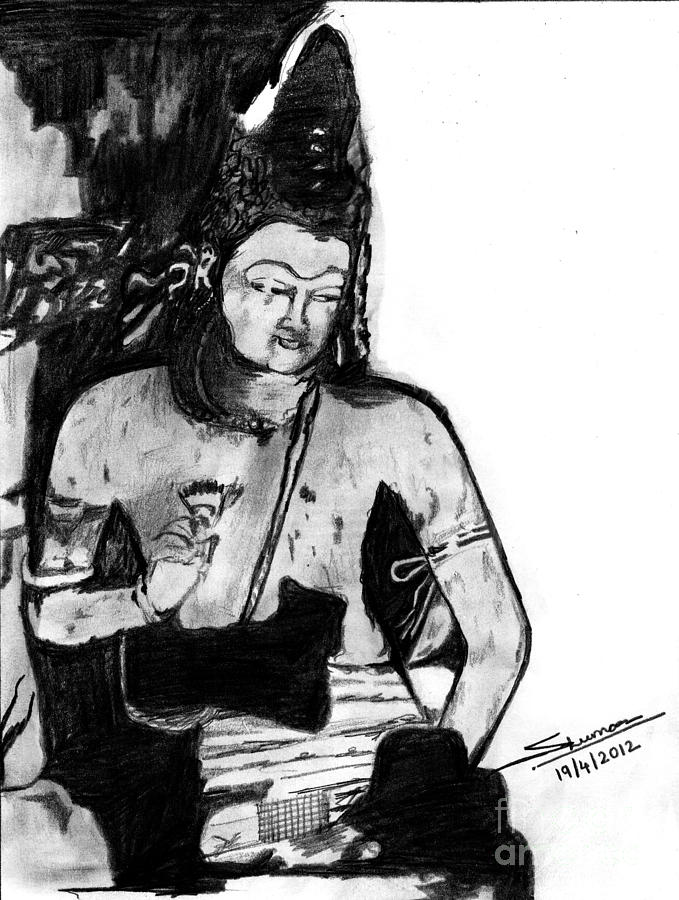 Bodhisatva Ajantha Cave Painting Drawing