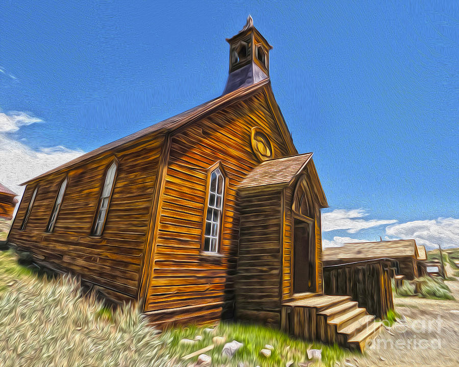 Bodie Ghost Town Painting - Bodie Ghost Town - Church 04 by Gregory Dyer