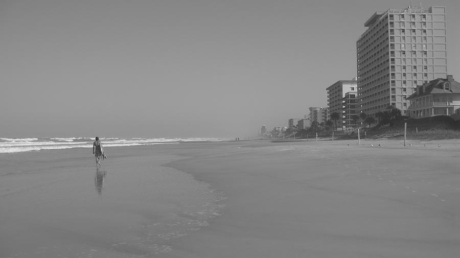 Body Boarding In Black And White Photograph