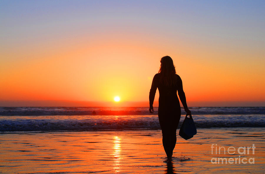 Bodysurfer At Dusk Photograph  - Bodysurfer At Dusk Fine Art Print