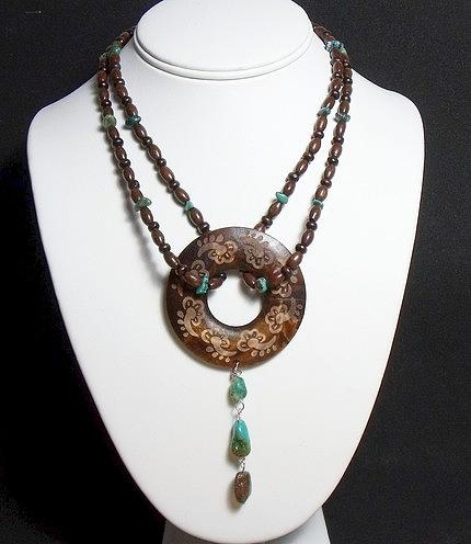 Bohemian Wood And Turquoise Necklace Jewelry