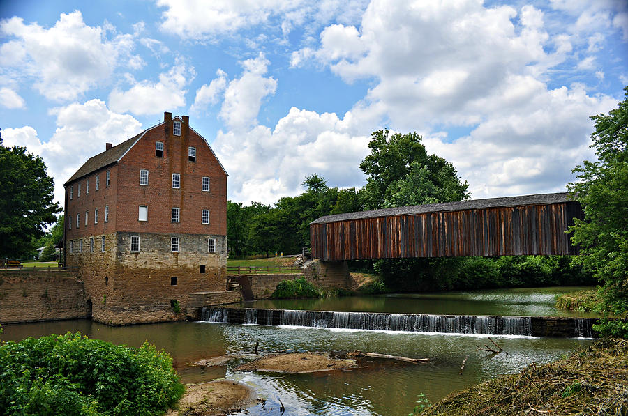 Bollinger Mill And Covered Bridge Photograph  - Bollinger Mill And Covered Bridge Fine Art Print