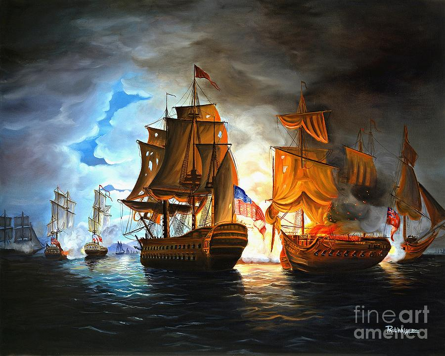 Bonhomme Richard Engaging The Serapis In Battle Painting  - Bonhomme Richard Engaging The Serapis In Battle Fine Art Print