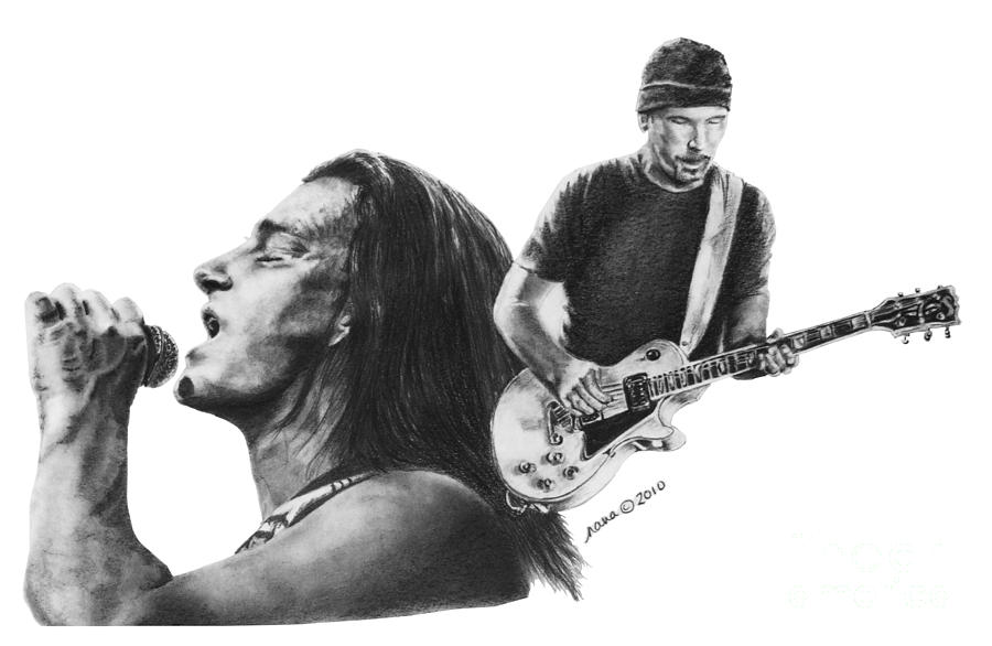 Bono And The Edge Drawing  - Bono And The Edge Fine Art Print
