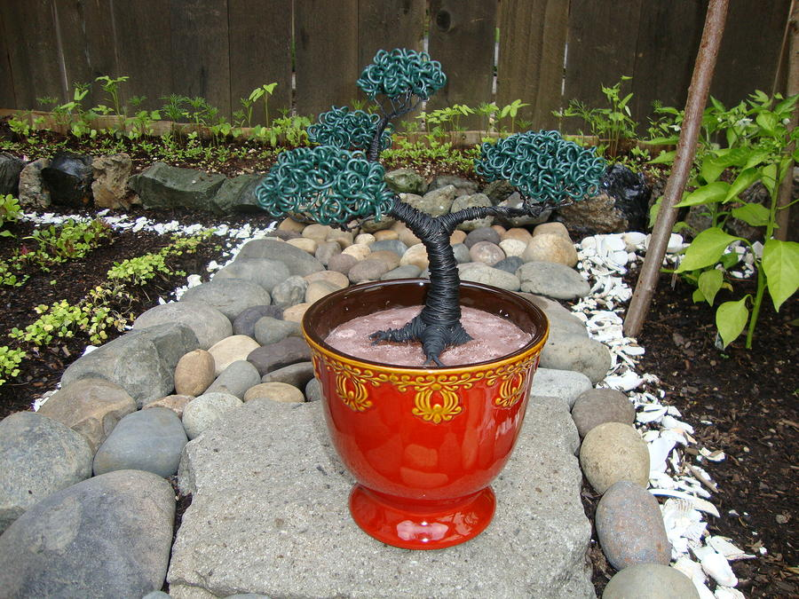 Bonsai Tree Medium Red Glass Vase Planter Sculpture