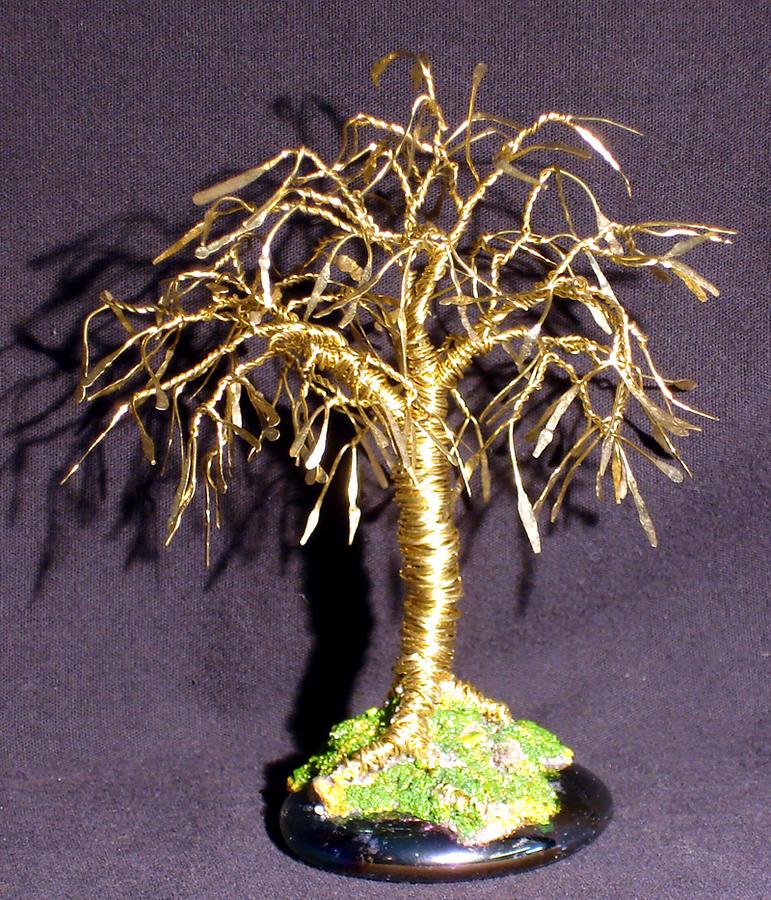 Sculpture Sculpture - Bonsai With Leaves  Mini Wire Tree Sculpture by Sal Villano