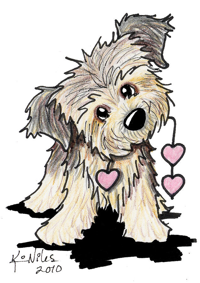 Border Terrier Heart Strings Drawing  - Border Terrier Heart Strings Fine Art Print