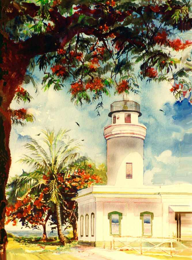 Borinquen Lighthouse Aguadilla Puerto Rico Painting  - Borinquen Lighthouse Aguadilla Puerto Rico Fine Art Print