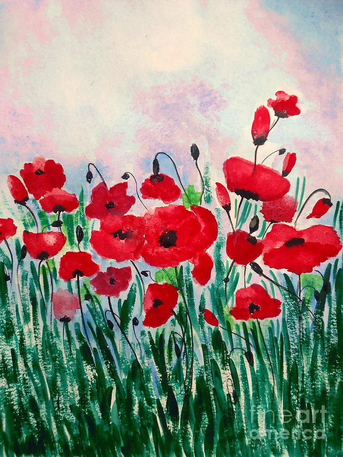 Red Poppy Painting - Born Free by Anjali Vaidya