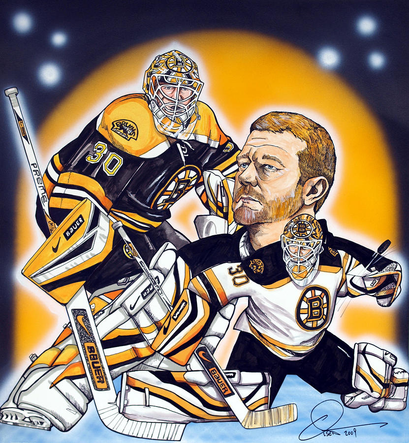Boston Bruins Goalie Tim Thomas Painting  - Boston Bruins Goalie Tim Thomas Fine Art Print