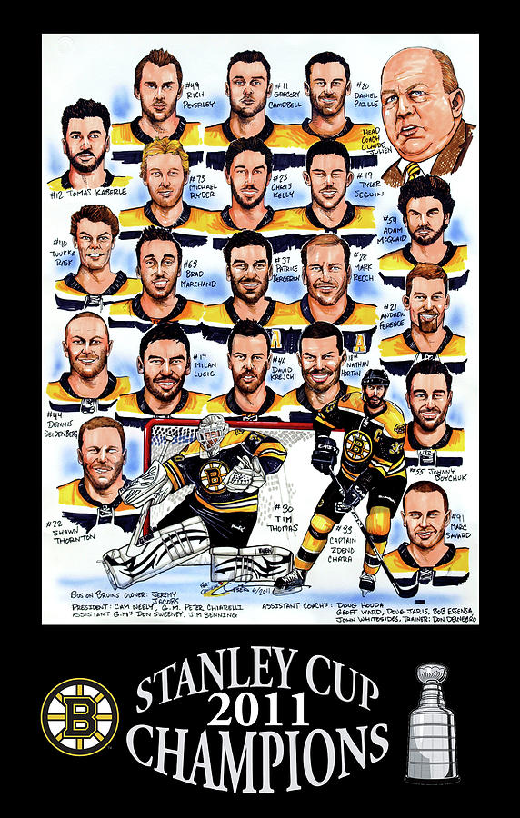 Boston Bruins Stanley Cup Champions Drawing  - Boston Bruins Stanley Cup Champions Fine Art Print